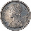 Silver Two Annas Coin of Victoria Queen of Bombay Mint of 1862.