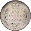 Silver One Rupee Coin of King Edward VII of Bombay Mint of 1910.
