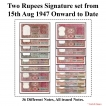 2 Rupees Signature set of 36 Notes From 1950 to 1994.