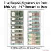 5 Rupees Signature set of 45 Notes From 1950 to 2011.