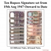 10 Rupees Signature set of 141 Notes from 1949 to 2019.