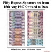 50 Rupees Signature set of 88 Notes from 1975 to 2020.