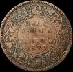 Copper Half Anna Coin of Victoria Queen of 1877.
