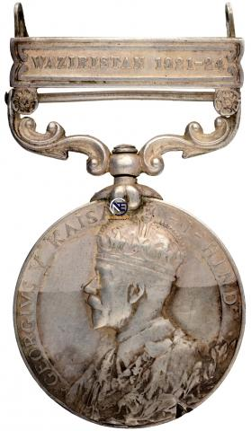 India General Service Silver Medal of King George V of Waziristan.