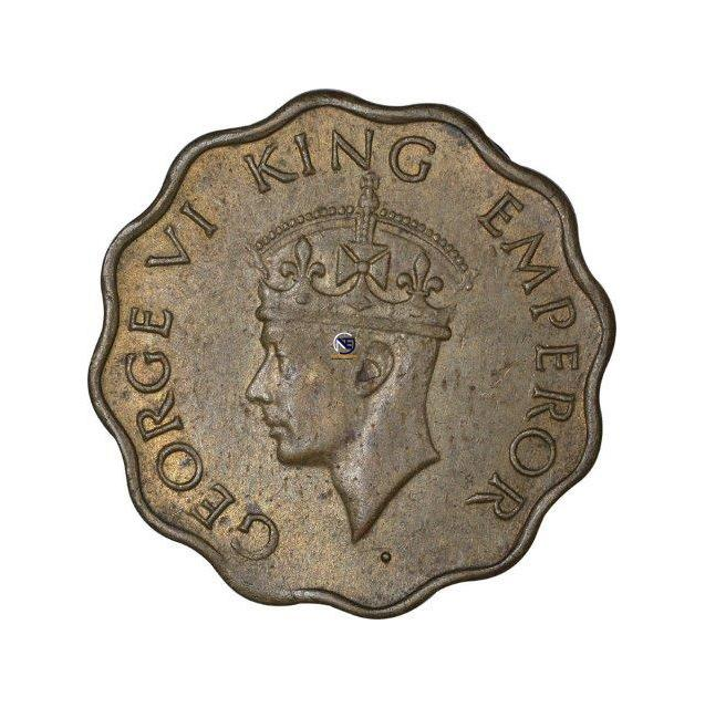 Nickel Brass One Anna Coin of King George VI of Bombay Mint of 1944.