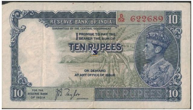 Ten Rupees Note of KG VI Signed by J B Taylor of 1938.