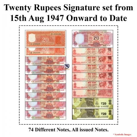 20 Rupees Signature set of 74 Notes from 1972 to 2020.