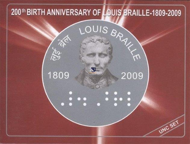 UNC Set of 200th Birth Anniversary of Louis Braille of 2009.