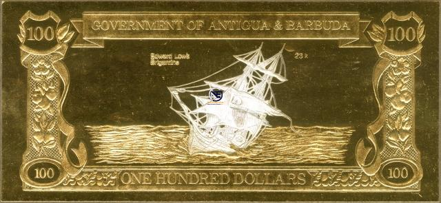 One Hundred Dollers Bank Note of Antigua and Barbuda.
