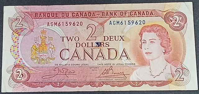 Two Dollars Bank Note of Canada of 1974.