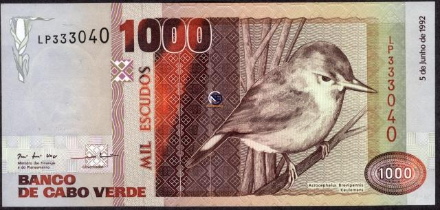 One Thousand Escudos Bank Note of Cape Verde of 1992.