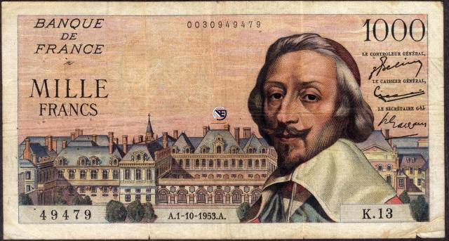 One Thousand Francs Bank Note of France.