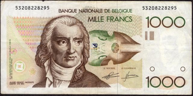 One Thousand Francs Bank Note of Belgium.