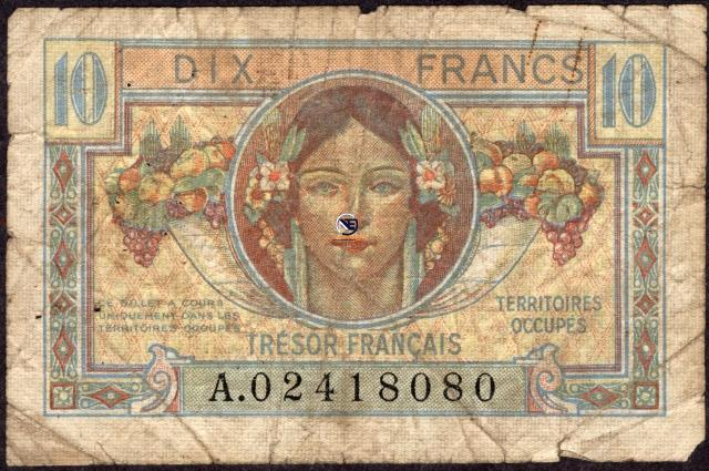 Ten Francs Bank Note of France of 1947.