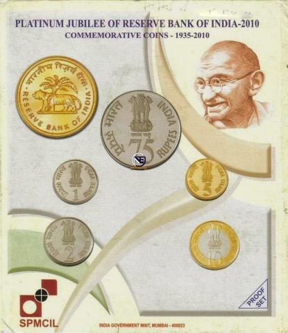2010 Proof Set of Platinum Jubilee of Reserve Bank of India.