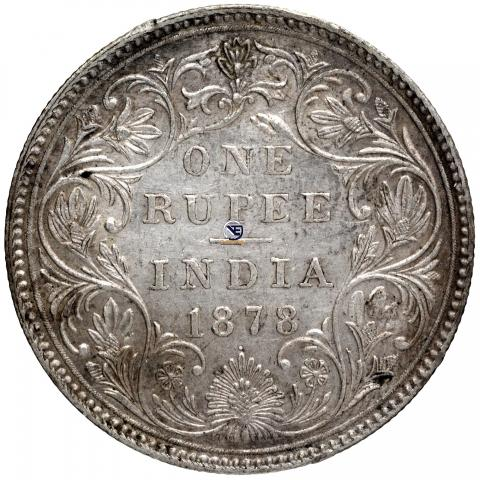 Silver One Rupee Coin of Victoria Empress of 1878.