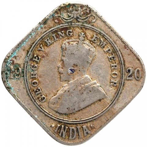 Cupro Nickel Two Annas Coin of King George V of 1920.