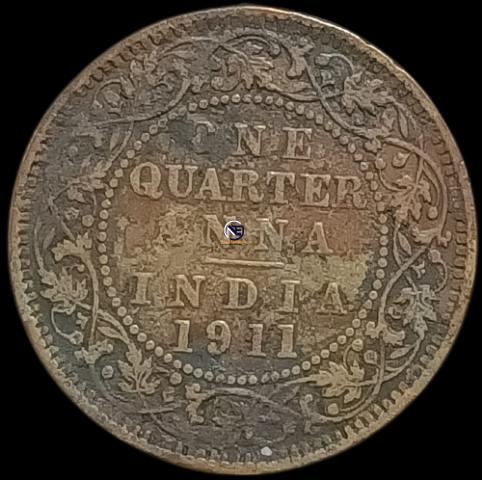 Bronze One Quarter Anna Coin of King George V of 1911.